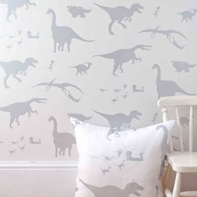 Designer Kids Wallpaper- 'D'ya-Think-E-Saurus' in White