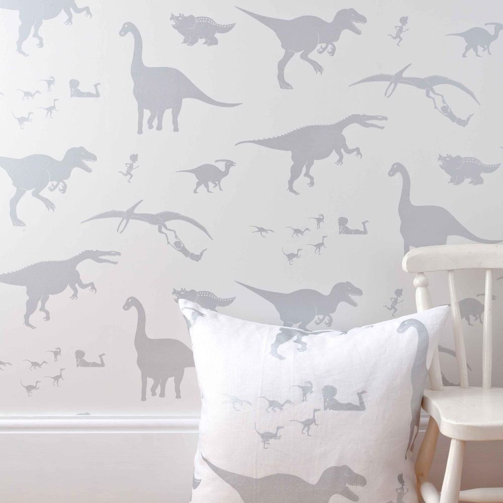 Designer kids wallpaper 39 d 39 ya think e saurus 39 in white for Grey dinosaur fabric