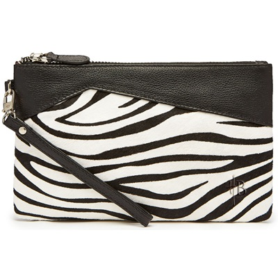 PHONE CHARGING MIGHTY PURSE in Zebra Pony Hide and Leather